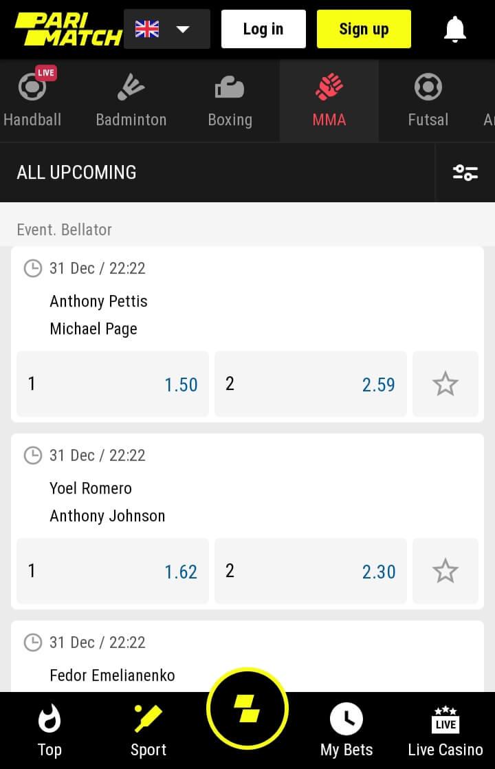 MMA betting at Parimatch