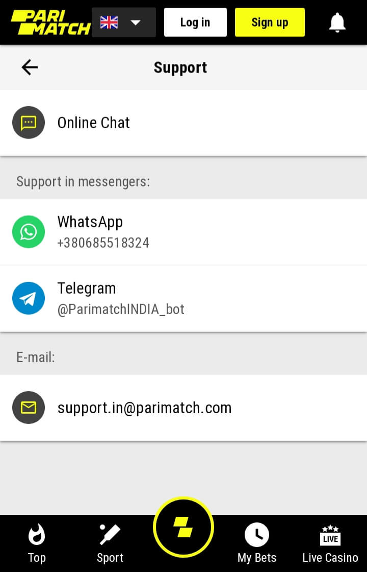 Parimatch support